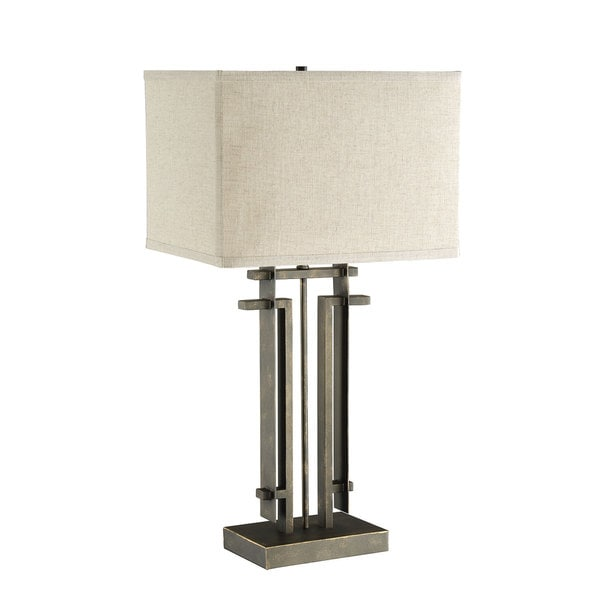 Shop Coaster Company Metal Table Lamp With Off White Square Shade