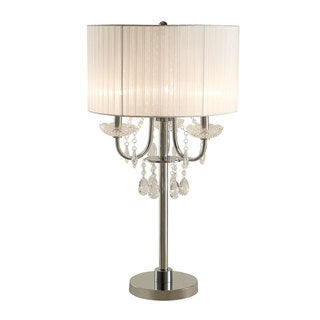 Coaster Company Table Lamp with Hanging Crystals and White Round Shade