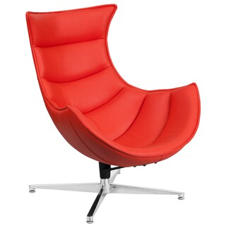 Leather Swivel Cocoon Chair (Option: Red)