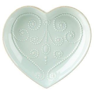 Lenox French Perle Ice Blue Stoneware Heart Dish