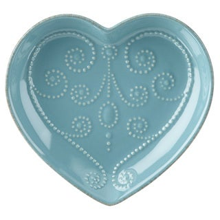 Lenox French Perle Chambray Everything Blue Stoneware Heart Dish