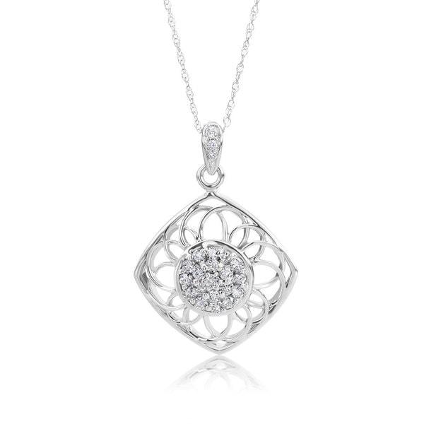 0e074d8083738 Shop SummerRose 14k White Gold 1/4ct TDW Diamond Pendant Necklace ...