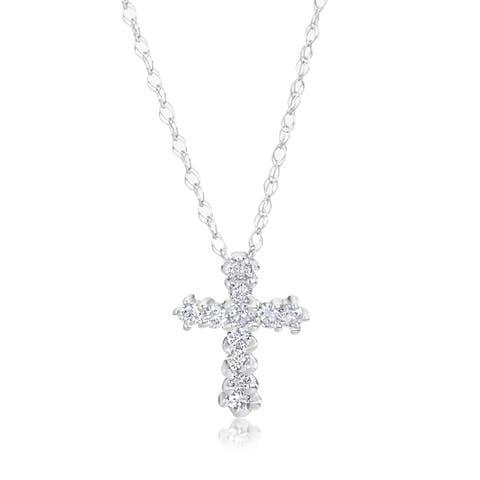 SummerRose 14k White Gold 1/8ct TDW Diamond Tiny Cross Pendant