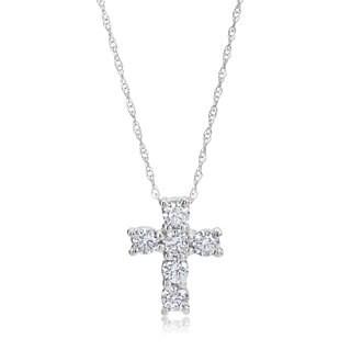 Andrew Charles 14k White Gold 1/2ct TDW Diamond Cross Pendant Necklace