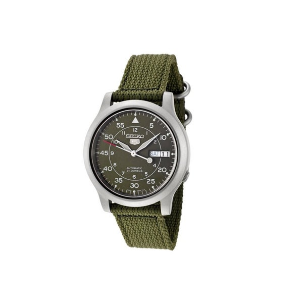 0f3c76340 Shop Seiko Men's SNK805 Automatic Green Canvas Strap Casual Watch - Free  Shipping Today - Overstock - 12172119