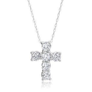 SummerRose 14k White Gold 1 1/10ct Diamond Cross Necklace
