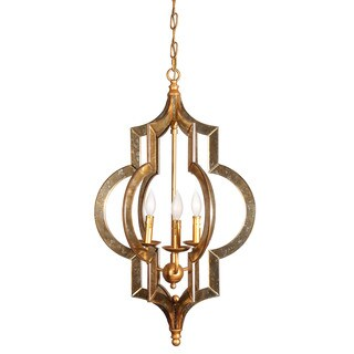 Scratched Gold Leaf Mirror Chandelier