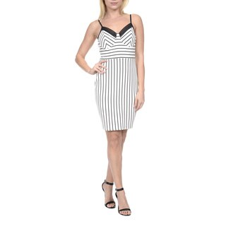 Romeo & Juliet Couture Women's White Polyester/Spandex Sleeveless Striped Sundress