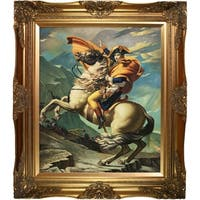 Jacques-Louis David 'Napoleon Crossing the Alps, 1801' Hand Painted Framed Canvas Art
