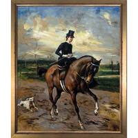 Giovanni Boldini 'The Amazon with Puppy' Hand Painted Framed Canvas Art