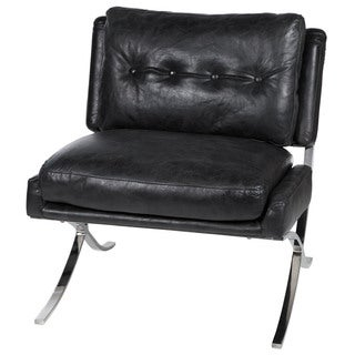 Antique Black Leather Capetown Occasional Chair
