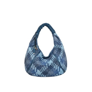 Mellow World Firework Blue Faux Leather Lattice Hobo Handbag