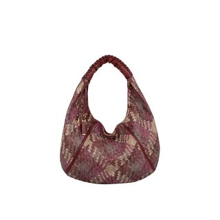 Mellow World Firework Red Faux Leather Lattice Hobo Handbag