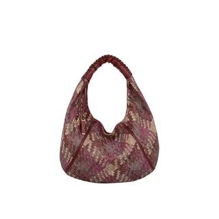 Mellow World Firework Red Faux Leather Lattice Hobo Handbag