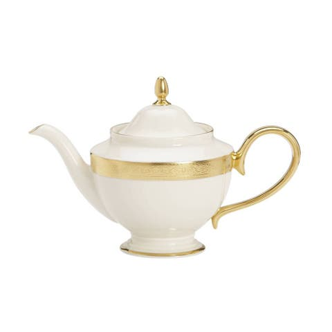 Lenox Westchester White China/ 24k Gold Teapot with Lid