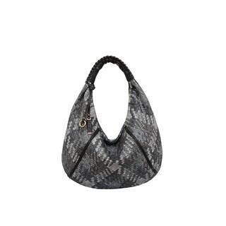Mellow World Firework Grey Faux Leather Lattice Hobo Handbag