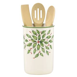 Lenox Holiday Utensil Crock with Three Wooden Utensils|https://ak1.ostkcdn.com/images/products/12172222/P19023864.jpg?impolicy=medium