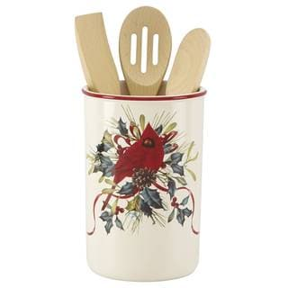 Winter Greetings DW Utensil Crock with Servers