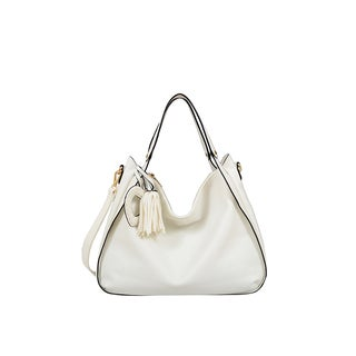 Mellow World Carly Slouchy White Faux Leather Hobo Handbag