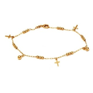 Peermont Jewelry 18k Goldplated Brass Ball Bead and Cross Charm Bracelet