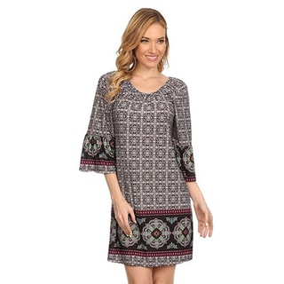 MOA Collection Women's Geometric Short Shift Dress