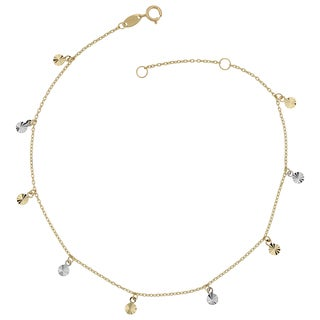 Fremada 10k Two-Tone Gold Dangling Diamond-Cut Disc Charm Adjustable Length Anklet