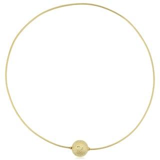 Fremada 14k Yellow Gold Diamond-cut Screw Ball Choker Collar Necklace