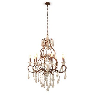 Aristocrat Elegant Wood Bead and Iron Chandelier