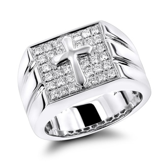 Luxurman Men's 14k White Gold 3/5ct TDW Diamond Cross Ring (G-H, SI1-SI2)