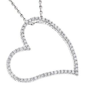 Luxurman 14k Gold 1 1/4ct TDW Diamond Floating Heart Pendant Necklace