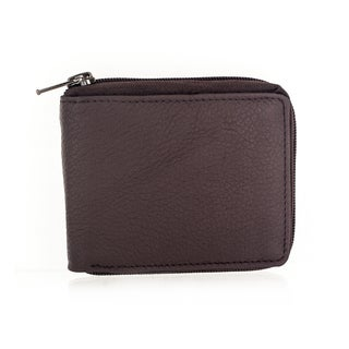 Faddism Men's YL Simple Series Dark Brown Leather/Fabric Sub-compact Bi-fold Wallet