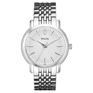 Bulova Men's 96A150 Stainless Steel Watch with a White Patterned dial and a Scratch Resistant Mineral Crystal