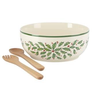 Lenox Holiday Dishwasher-safe Salad Bowl with Wood Servers