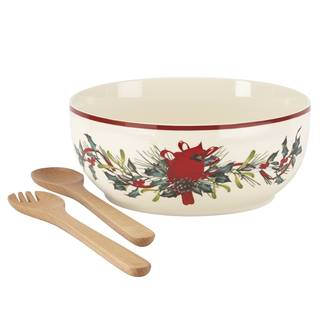 Lenox Winter Greet Ivory Porcelain Cardinal and Wreath Salad Bowl With Wooden Servers