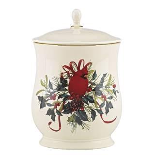 Lenox Winter Greetings Red Porcelain Cookie Jar