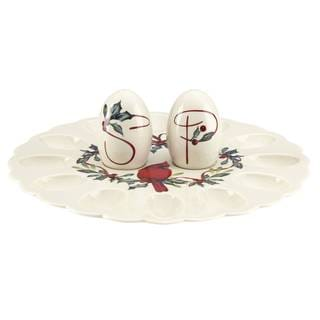 Lenox Winter Greetings Ivory Porcelain Egg Platter With Salt and Pepper Shaker