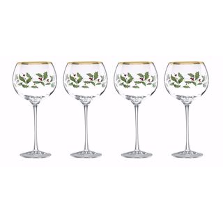 Lenox Holiday Decal 4-piece Balloon Beverage Glass