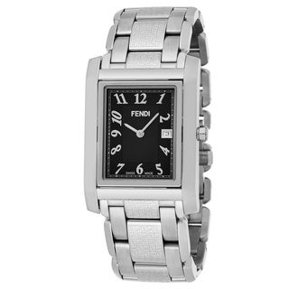 Fendi Men's F765110B 'Loop Rectangle' Black Dial Stainless Steel Swiss Quartz Large Watch