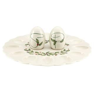 Lenox Holiday Egg Porcelain Platter with Salt and Pepper Set