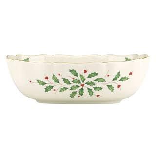 Lenox Holiday Archive White Ceramic Large Fluted Bowl