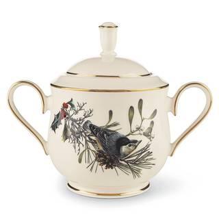 Lenox Winter Greetings Gold Ceramic Lidded Sugar Bowl