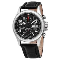 Revue Thommen 17081.6537 'Pilot' Black Dial Black Leather Strap Chronograph Swiss Automatic Watch