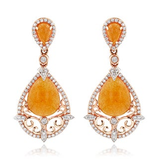Luxurman 14k Gold 3/4ct TDW Diamond and Orange Aventurine Earrings (G-H, SI1-SI2)