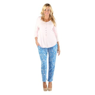 Hadari Womens Straight Leg Blue Bamboo Patterned Ankle length Pants