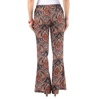 Hadari Womens Orange Flare Paisley Print Pants