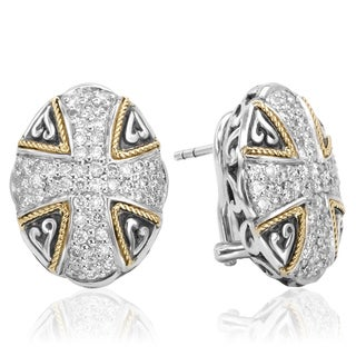 Avanti Sterling Silver and 18k Yellow Gold 1/2ct TDW Diamond Button Earrings (I-J, I1-I2)
