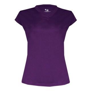 Women's Purple Polyester Solid Cap-sleeve Shirt Jersey