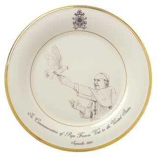 Lenox Pope Francis Commerative White and Gold China Plate