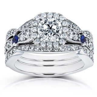 Annello by Kobelli 14k White Gold Blue Sapphire and 1 4/5ct TDW Diamond Halo Three Piece Bridal Set