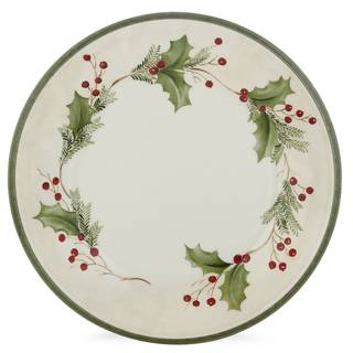 Lenox Holiday Gatherings White/Red/Green Stoneware 9-inch Berry Accent Plate